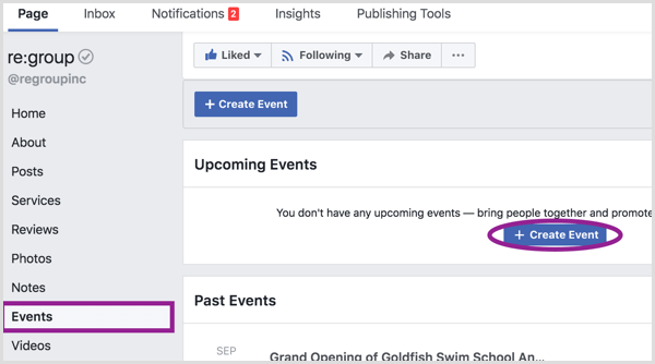 Click Events in the left column on desktop and then click the Create Event button.