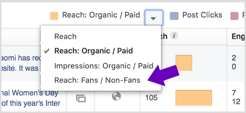 Click the arrow next to Reach: Organic/Paid in your Facebook Page Insights.
