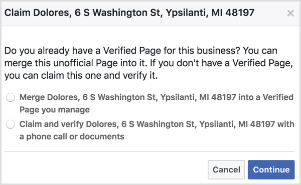Select the option to merge an unofficial place page with a verified Facebook page you manage.