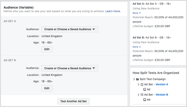 Split test running your Facebook ads to two or more audiences.