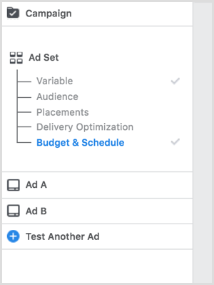 Choose a budget allocation when you split test ad creative.