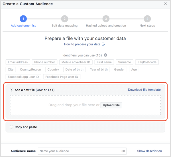 Facebook upload customer data