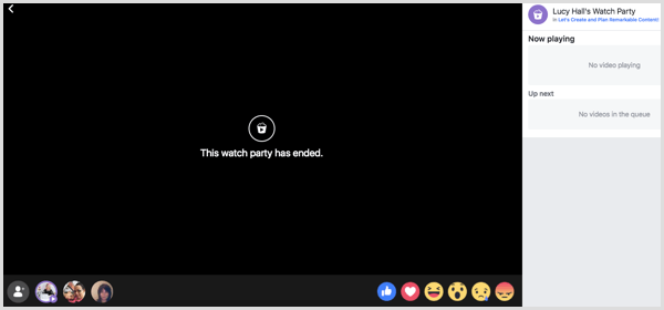 Facebook displays the message 'The watch party has ended.