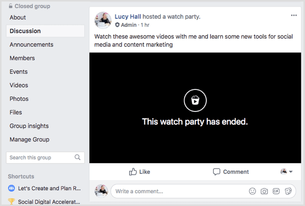 A Facebook watch party post in the group feed.