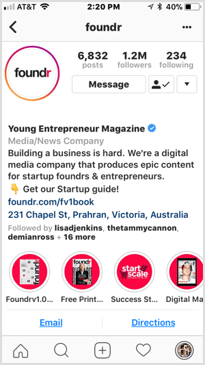 Instagram branded highlights on Foundr profile.