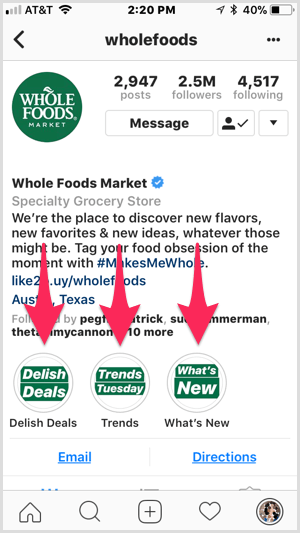 Instagram highlights on Whole Foods profile.