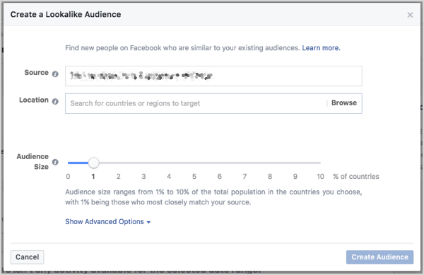 Set Facebook lookalike audience size. You can control the size with a slider that appears when you create the audience.