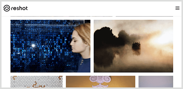 Reshot is stock photo site with curated images. Screenshot of photo library on Reshot website includes profile of white woman with blonde hair in front of iridescent blue tile and a misty landscape with silhouetted trees.