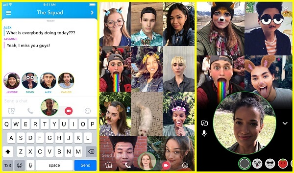 Snapchat introduces group video chat for up to 16 people.