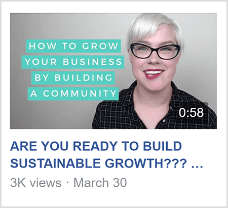 To teach in a Facebook group, Caitlin Bacher shares video like this video with the text How To Grow Your Business By Building A Community and an image of Caitlin from the shoulders up and facing the camera.