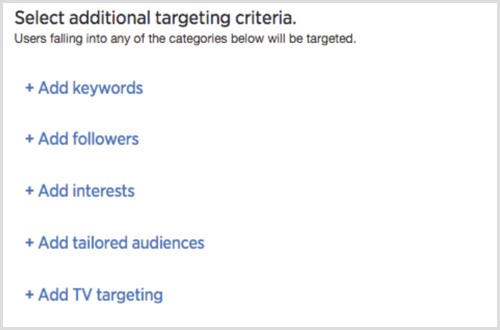 Select Additional Targeting Criteria options for Twitter Ads campaign.