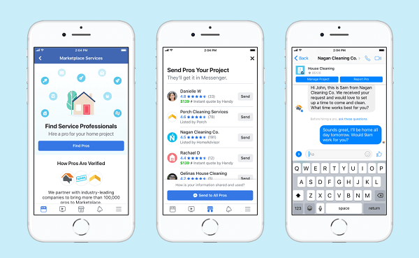 Facebook Marketplace listings will now include thousands of top-rated and vetted local home service professionals such as house cleaners, plumbers, contractors, and more.