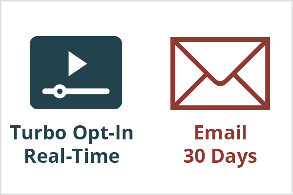 A turbo opt-in that Nicole Walters recommends works in real time as illustrated with a video player icon and blue text. An email sequence takes about 30 days to convert as illustrated with a maroon envelope icon and text.
