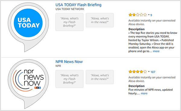 Alexa flash briefing listings have a gray speech bubble with a round logo of the producer such as USA TODAY or NPR. The listings also include a star rating and description.