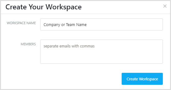 Asana create workspace