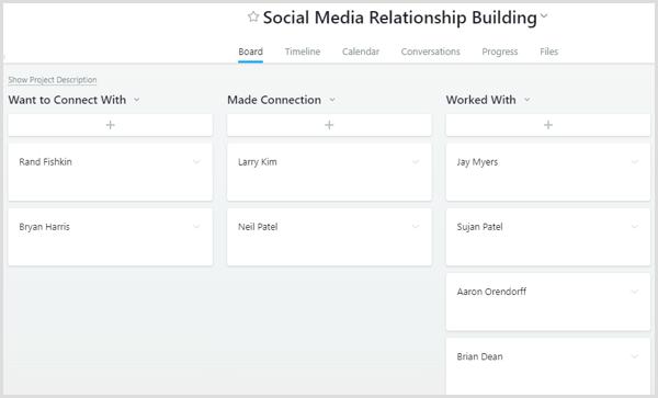 Asana social media relationship building