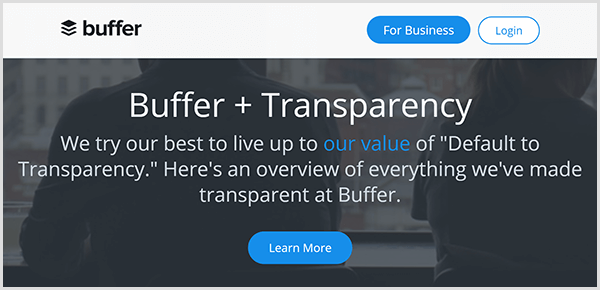 The Buffer web page for radical company transparency has a dark background with the text We Try Our Best To Live Up To Our Value Of Default To Transparency. Here's An Overview Of Everything We've Made Transparent At Buffer. A blue Learn More button appears below the text.