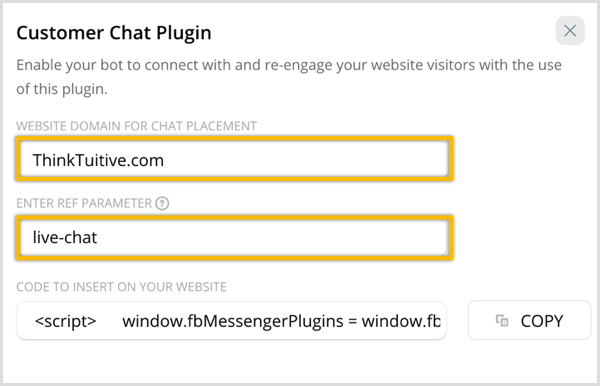 ChatFuel configure customer chat plugin