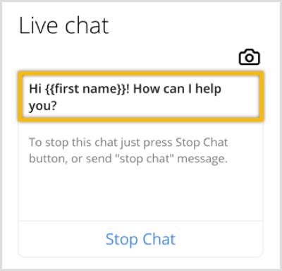 ChatFuel past welkomstbericht aan