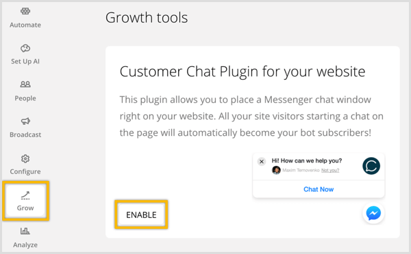 ChatFuel enable customer chat plugin