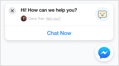 Ejemplo de complemento de chat ChatFuel Messenger