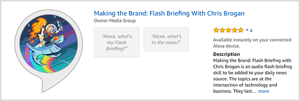 Chris Brogan's Alexa flash briefing for Making the Brand shows a caricature of Chris riding a shark and holding a flame. In the background is a rainbow.