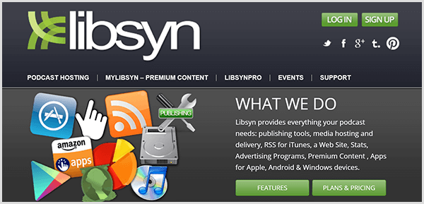 Chris Brogan uses Libsyn to host the audio files for his Alexa flash briefing. The Libsyn website has navigation items for podcast hosting, premium content, pro features, events, and support.