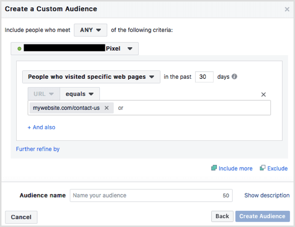 custom audience people who visited contact page