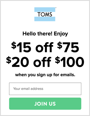 An email signup form on a landing page.