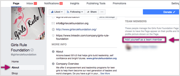 Facebook Add Yourself as Team Member link for Facebook page