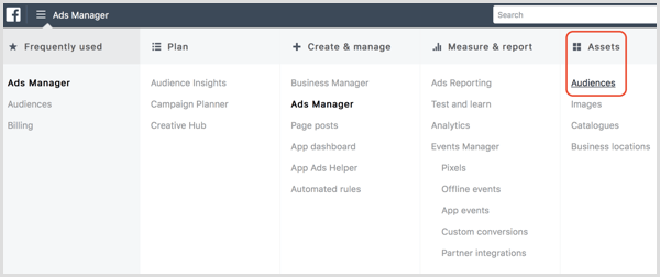 Facebook Ads Manager Audiences-optie