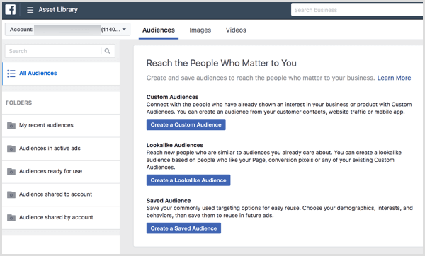 When you first open the Audiences tool, it asks what type of audience you'd like to create.