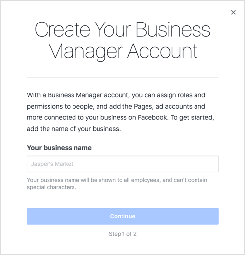 Enter your business name to create your Business Manager account.