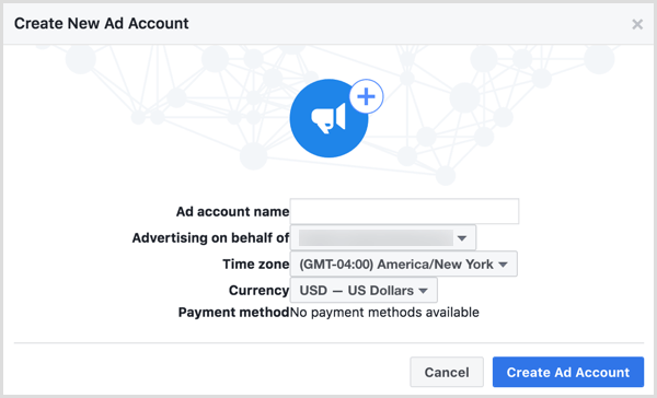 Use your business name when asked to name your new Facebook ad account.