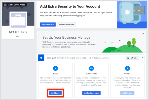 Click Add Page to add your Facebook page to Business Manager.