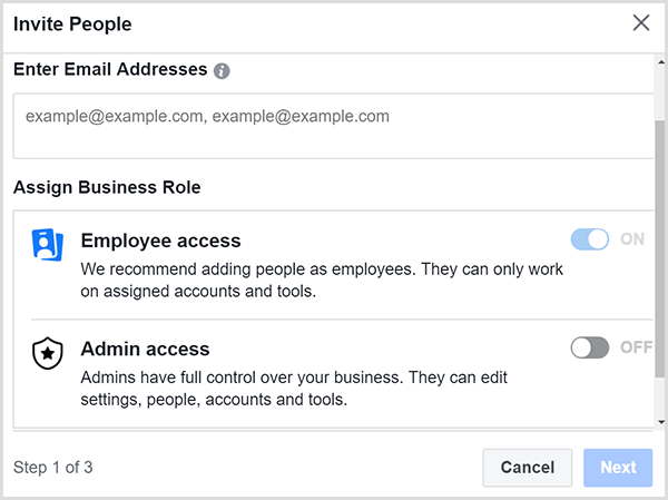 Select whether to give Employee Access or Admin Access.