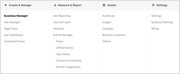 Explore the options in the Facebook Ads Manager menu.