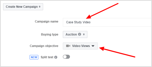 Select the Video Views objective for your Facebook ad campaign.