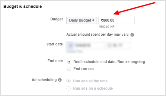 Set a daily budget for your Facebook ad campaign.