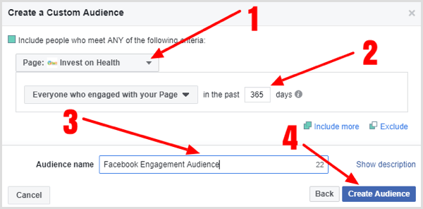 Fill in the details to create your Facebook page engagement custom audience.