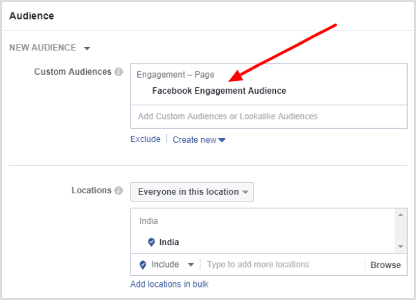 Select location, age, gender, and detailed targeting options for your Facebook campaign.