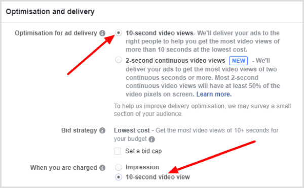 Choose how you want to optimize ad delivery for your Facebook ad.