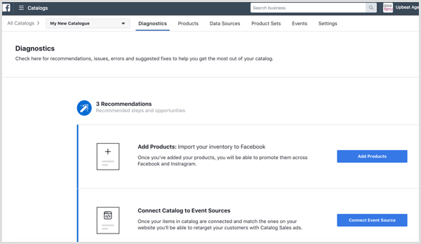 Facebook Catalog Manager dashboard