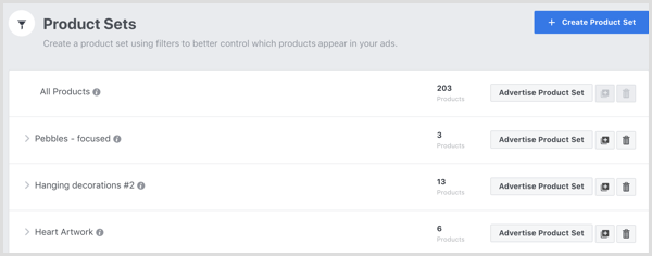 Facebook Catalog Manager Product Sets tab