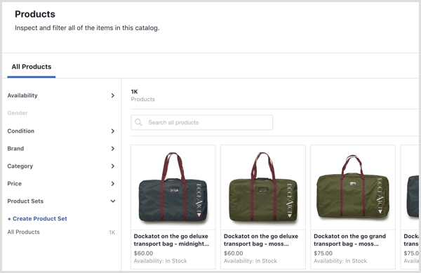 Facebook Catalog Manager Products tab