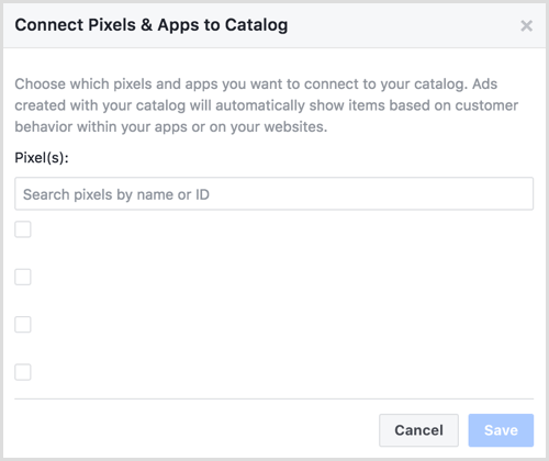 Connect Pixels & Apps to Catalog dialog box