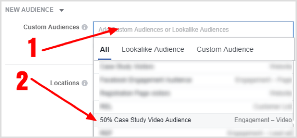 Select your custom audience from the drop-down list.