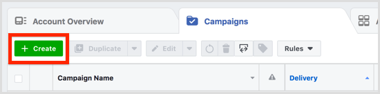 Click Create on the Campaigns tab.