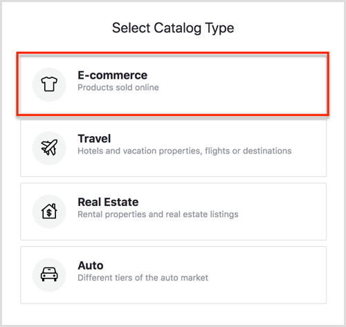 Select Catalog Type options in Facebook Catalog Manager