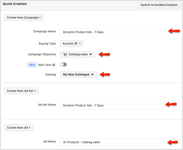 Quick Creation window in Facebook Ads Manager